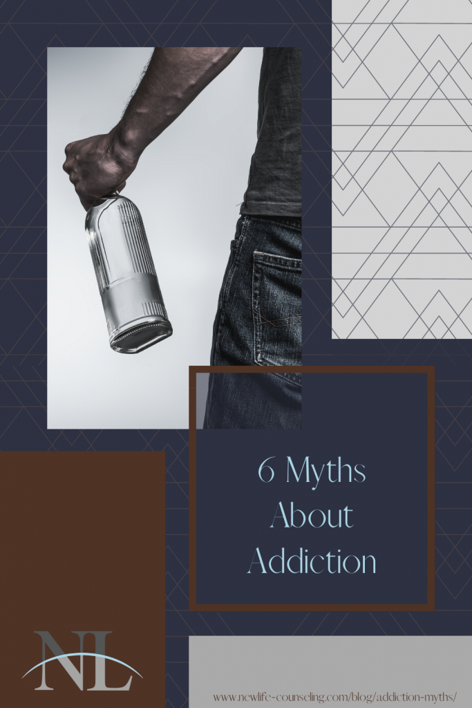 image of person holding bottle on blue background with the words 6 myths about addiction
