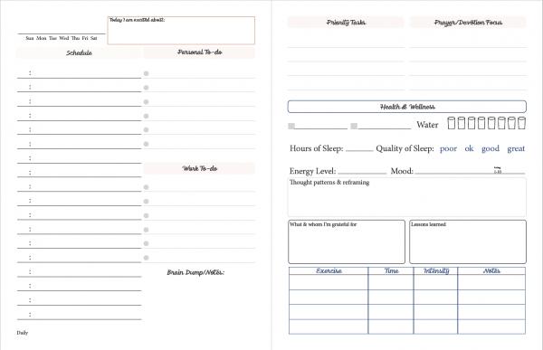 printable planner bonus daily page