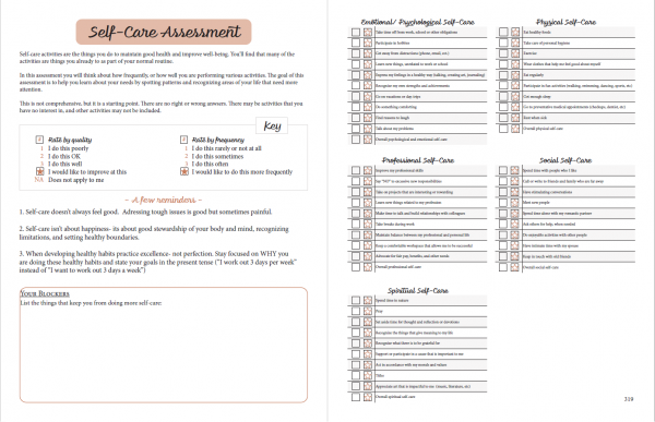 printable planner self care assessment