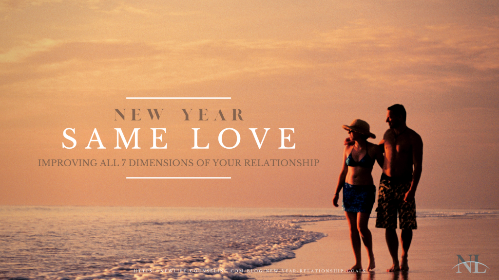 """couple walking on the beach at sunset with the words """"New Year Same Love"""""""