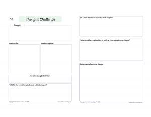 Thought Challenge Worksheet- Multiple questions and empty boxes