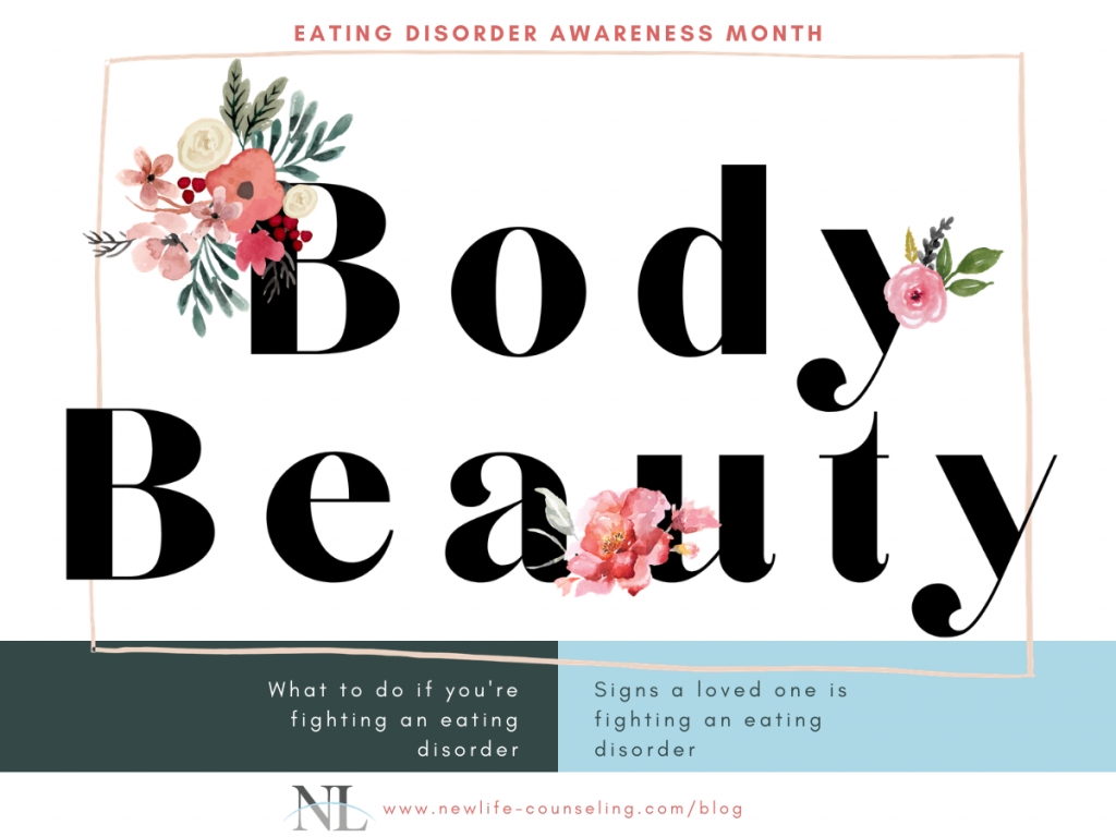 """Eating disorder awareness month with tshirt design """"body beauty"""" with pink watercolor flowers. Blue and green bar at the bottom with more text"""