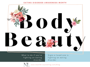 "Eating disorder awareness month with tshirt design ""body beauty"" with pink watercolor flowers. Blue and green bar at the bottom with more text"