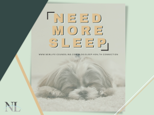 "Faded Photograph of puppy sleeping on a green background with words ""Need More Sleep"""