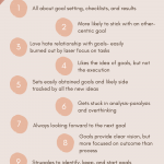 Pink infographic showing enneagram types 1-9 and highlighting how they set goals- read more on the blog