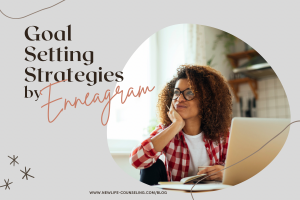 blog graphic: grey background, circle image of woman sitting in front of her laptop with her chin in her hands- looking to her right with a small smile. Title words: goal setting strategies by Enneagram
