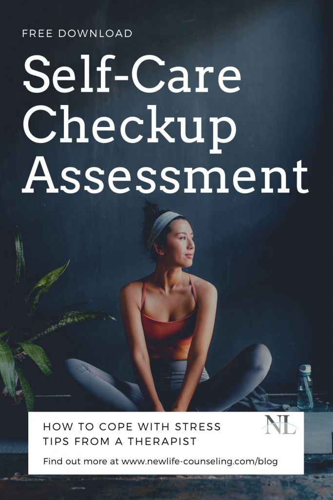 woman in orange tanktop, grey leggings, dark hair in ponytail sitting in butterfly on a yoga mat next to a large fern and looking to her left. Title Free Self-care checkup assessment and Coping with stress